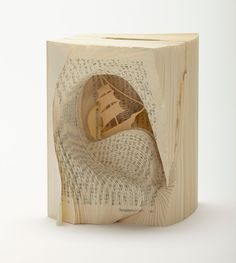 """Two Years' Vacation"" by Jules Verne - alterted book art by Tomoko Takeda, a Japanese artist-designer"