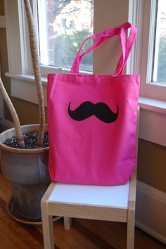 13 X 13 Mustache Canvas Tote Bag of Any Color Combo by ShopMelissa, $15.00