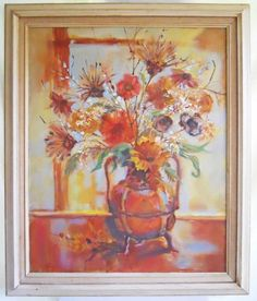 Sunflowers Vintage Original Impressionist Painting Still Life Flowers Huge Fran in Art, Paintings Orange Painting, Oil Painting Abstract, Dried Sunflowers, Still Life Flowers, Painting Still Life, Impressionist Paintings, Vincent Van Gogh, Art Oil, Wall Art Decor