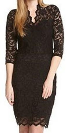 Lace...Lace...Lace! GORGEOUS Deep V-Neck Scallop Black Lace Dress! Perfect for any occasion . . .