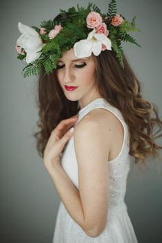 Magnolia Floral Crown Flower Crown Flower by WeddingsByTrinity Crown Flower, Floral Crown, Flower Head Wreaths, Flower Headpiece, Magnolia, Trending Outfits, Unique Jewelry, Flowers, Wedding
