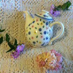 Floral Ceramic Teapot German Vintage White by PamsPawsJewelry