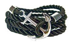 Geralin Gioielli Herren Handmade Anker Armband in Schwarz Silber
