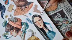 Watercolor character sketching Maria Tiurina