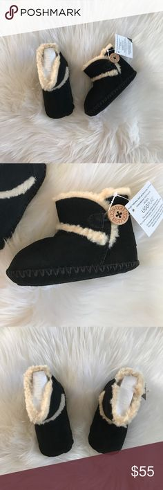"""UGG Lenny boots New Infant UGG Lenny boot Gift Set, in black/cream. So cute & perfect for your baby or as a gift this Christmas! In tact gift box but does have some store tag residue on the front. Size 2/3 = 6-12 months & they measure 5.5"""" long. UGG Shoes Boots"""