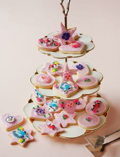 Pretty in pink. Iced Biscuits from The Primrose Bakery Book by Martha Swift and Lisa Thomas.