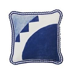 100% linen cushion hand screen printed with holiday tile design in blue finished with blue and white box pleat trim (C924).  Dimensions: 40cm x 40cm (feather insert included)  Care Instructions: Remove insert and hand wash or gentle machine wash separately with gentle laundry liquid, line dry and iron on reverse whilst slightly damp. Please do not bleach, tumble dry or dry clean.  To purchase cushion without its feather insert please apply the coupon code NOFILL at checkout.