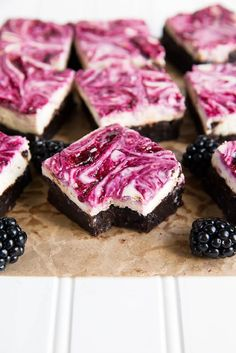 Blackberry Cheesecake Brownies - 16 Deliciously Different Fruit Desserts for Summer | GleamItUp