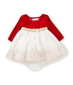 Bonnie Baby Baby Girls Newborn24 Months Christmas VelvetGlitterDot Mesh FitAndFlare Dress #Dillards