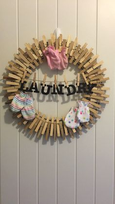My version of the laundry room clothes pin wreath.