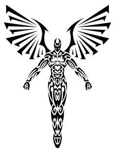 Tribal Angel 2 Print Version by (print image) Tattoo Sketches, Tattoo Drawings, Body Art Tattoos, Tribal Tattoos, Sleeve Tattoos, Diy Tattoo, Hunter Tattoo, Illustration Tattoo, Sword Tattoo