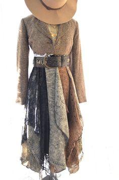 Tweed duster jacket coat, Long winter lace jacket, Lagenlook tweed, Gypsy Vagabond clothing, True Rebel Clothing