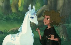 The Last Unicorn - film. Yes, I am going to upload a separate pin for each media in which this tale has been. Each one is a beautiful tale, slightly different from the others. The movie was my first introduction to this beautiful story, and remains one of my favorite movies ever.