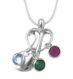 Add as many birthstone charms as needed to this adorable necklace that features Mom's arms in a heart shape, holding the birthstone charms of her children or grandchildren.