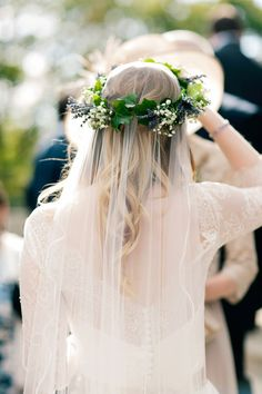 Bride wears a lavender and gyp flower crown | Photography by http://www.jobradbury.co.uk/
