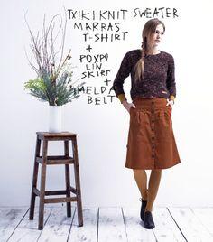Txiki Knit Sweater // Marras T-shirt // Poxpolin Skirt // Imelda Belt Waist Skirt, High Waisted Skirt, Leather Skirt, Belt, Woman, Knitting, Skirts, Sweaters, T Shirt