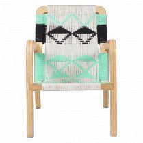 Macrame Palapa Spearmint & Black Lounge Chair