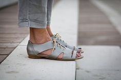 10% Sale, Robin, Lace Up Leather Sandals, Silver Sandals, Summer Shoes, Metallic Summer Flats