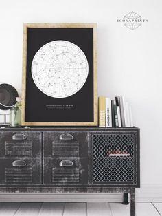 Constellation Map Universe Galaxy Black White print by icosaprints