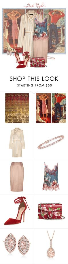 """""""Date Night Style"""" by valeria-meira ❤ liked on Polyvore featuring Nourison, Marmont Hill, The Row, Ross-Simons, River Island, Carine Gilson, Gianvito Rossi, Gucci, DateNight and floral"""