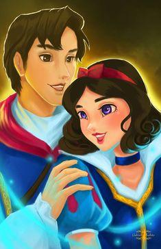 Disney Princesses And Princes, Disney Princess Art, Disney Art, Disney Couples, Disney Girls, Disney Love, Disney Stuff, Snow White Art, Snow White Disney