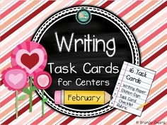 February Writing Task Cards for centers with 16 task cards (Valentine's Day, President's Day, 100th Day, friendship, etc.) with narrative, informative, opinion and creative writing prompts.  Stationary, station sign, station directions, rubric, task card checklist.  Everything you need for a primary writing station for the entire month of February:)