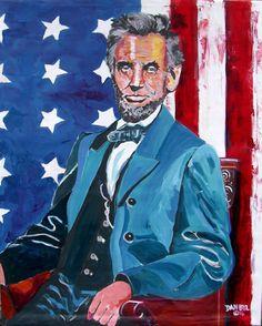 Abraham Lincoln Original Art PAINTING Artist DAN BYL USA President Huge 4x5ft #Impressionism