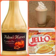 Pumpkin Cream Pie Pudding Shots 1 small Pkg. pumpkin spice instant pudding ¾ Cup Milk 3/4 Cup Pumpkin Pie Cream Liqueur 8oz tub Cool Whip Directions 1. Whisk together the milk, liquor, and instant pudding mix in a bowl until combined. 2. Add cool whip a little at a time with whisk. 3.Spoon the pudding mixture into shot glasses, disposable shot cups or 1 or 2 ounce cups with lids. Place in freezer for at least 2 hours