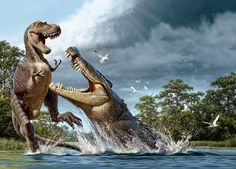 A Deinosuchus, an alligator ancestor, lunges at an Albertosaurus.