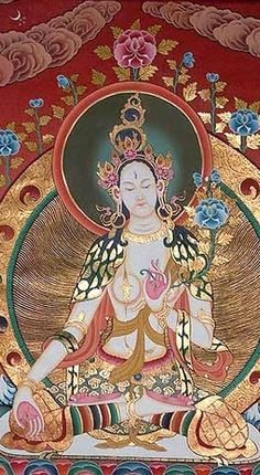 White Tara, Goddess of Compassion, the Divine Mother  detail - 4 of her 7 eyes (3 in her head, 2 in the palms of her hands, and 2 in the soles of her feet),   White Tara / Weiße Tara Dharmapala Thangka Centre, Tibetan Buddhist School of Thangka Painting
