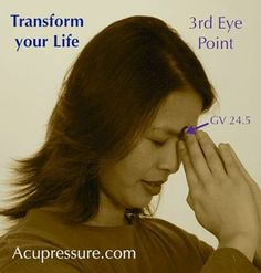 Kay Lyndley shared Acupressure Points's photo.  3 hrs ·  .  ❥❥❥        TRANSFORM YOUR LIFE. The 3rd Eye Point (GV 24.5) relieves headaches, stress ailments & pain like fibromyalgia pain if practiced 3 times daily. Breathe deeply as you focus on lightly touching between your eye brows with your eyes closed for a few minutes. This point with slow, deep breaths can transform your life! Do it; explore it. What did you discover? Share it. Show this to children & adults of all ages.