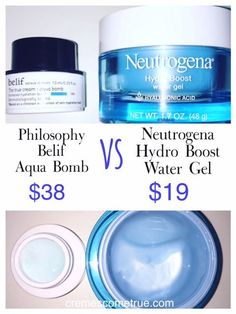 I tried both but Ill only repurchase one Neutrogena Hydro Boost Water Gel Re Beauty Dupes, Makeup Dupes, Beauty Products, Elf Dupes, Eyeshadow Dupes, Lipstick Dupes, Drugstore Skincare, Skincare Routine, Aqua