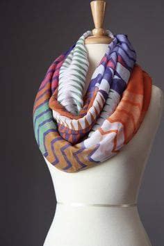 Infinity Scarf   light loop tube circle multicolored oversized zig zag. $30.00, via Etsy.