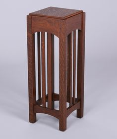 Limbert square spindled plant stand. Signed. Refinished. 30″h x 11″sq