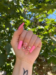 Acrylic Nails Coffin Pink, Long Square Acrylic Nails, Summer Acrylic Nails, Cute Pink Nails, Blush Nails, Glow Nails, Butterfly Nail, Fire Nails, Swag Nails