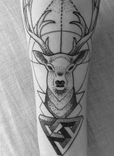 deer + geometric tattoo