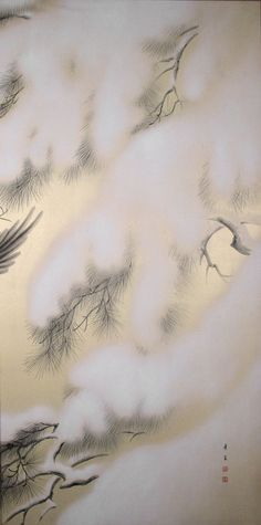KODAMA Kibō(児玉希望 Japanese, 1898-1971)  Pair of Screen Paintings of Magpies & Snow   1926-1936  Mineral pigments, gofun and sumi ink on gold washed paper