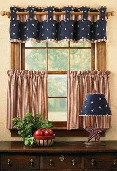 What a fun patriotic window. Valance and cafe curtains. Country Curtains, Cafe Curtains, Kitchen Curtains, Drapes Curtains, Valances, Brown Curtains, Patterned Curtains, Elegant Curtains, Vintage Curtains