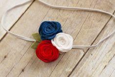 Large Wool Felt Rosette Trio. Red, White & Blue!
