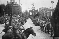 THE LATVIAN WAR OF INDEPENDENCE, 1918-1920 Troops of the Red Army celebrating the May Day in the streets of Riga, 1 May 1919