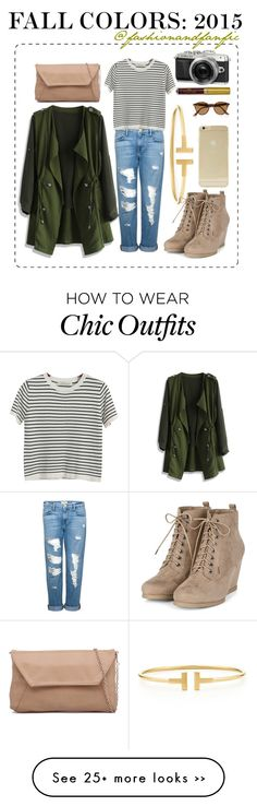 """Fall Colors: 2015"" by fashionandfanfic on Polyvore featuring Chicwish, Tiffany & Co., Frame Denim, Chicnova Fashion, Ray-Ban, Sonix, GREEN, fashionset, fallfashion and fall2015"
