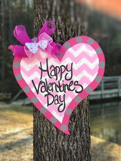 Happy Valentines Day Heart door hanger by ThePinkSpeckledFrog on Etsy https://www.etsy.com/listing/219143466/happy-valentines-day-heart-door-hanger