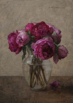 Pink Peonies, oil, by Michael Klein