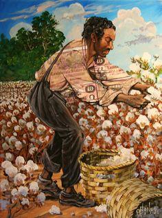 Title: Slave Picking Cotton II Artist: John W. Jones Medium: Mixed Media Collage On Canvas African American Artist, American Artists, African Art, African Paintings, Picking Cotton, Caribbean Art, Black Art Pictures, Black Artwork, Black History Facts
