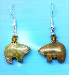 Rainforest Rhyolite Zuni Bear Earrings, the Bear is the guardian of the mother earth by HollinsHandMade on Etsy