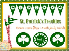 St. Patrick's free printables - banner, flag, rounds