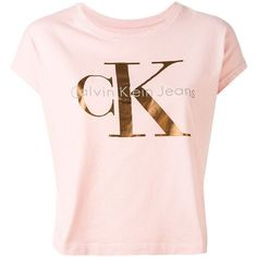 Calvin Klein Jeans logo print T-shirt ($48) ❤ liked on Polyvore featuring tops, t-shirts, pink, cotton tees, pink top, logo design t shirts, pink tee and pink t shirt