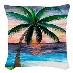 "Sunset Palm Tree art pillow size 18"" x 18"" from my art on Etsy, $45.00"