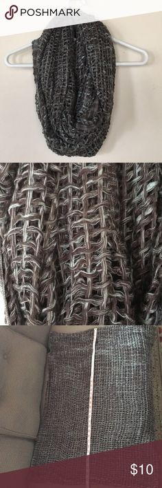 Infinity Scarf 🧣 A fun woven scarf that is nice and sloutchy when hanging on the neck. It is a green color woven with a charcoal/ black color that seems to change color depending on what you pair it with. Accessories Scarves & Wraps