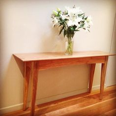 Spotted gum hall table. George designed and created . Off across the Nullabor #unique #custommade #finefurniture #design #bellarinepeninsula by george.chirnsidefurniture http://ift.tt/1JO3Y6G